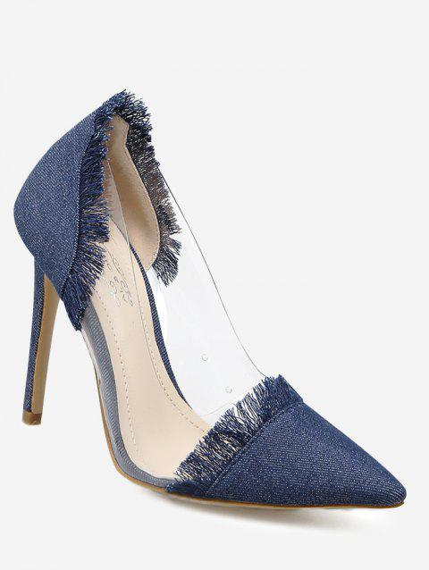 Transparent Side Fringe Denim Pumps - DEEP BLUE 40