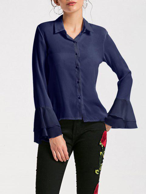 Sheer Flare Sleeve Chiffon Blouse - CERULEAN L