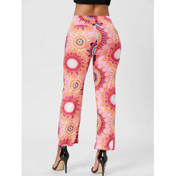Fashionable Mid-Waisted Printed Loose-Fitting Women's Exumas Pants - ROSE L