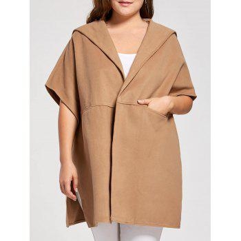 Plus Size Wool Blend Hooded Poncho Coat