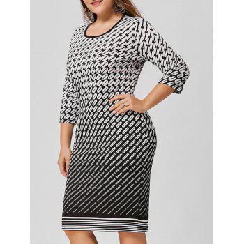 Plus Size Ombre Geometric Dress
