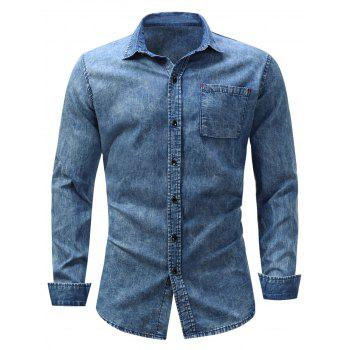 Bleached Effect Pocket Chambray Shirt