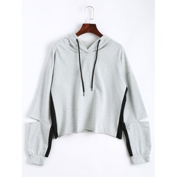 Drop Shoulder Crop Hoodie with Color Block - LIGHT GRAY XL
