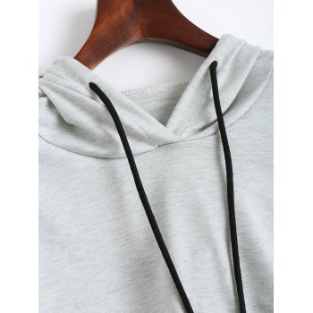 Drop Shoulder Crop Hoodie with Color Block - XL XL