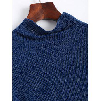 Flare Sleeve High Neck Drop Shoulder Sweater - ONE SIZE ONE SIZE