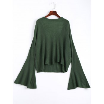 Drop Shoulder Long Flare Sleeve Knit Top