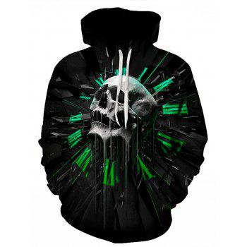 3D Graphic Skull Print Pullover Hoodie