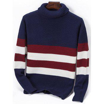Turtleneck Popcorn Knitted Striped Sweater