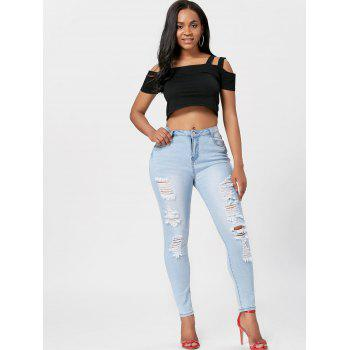 Light Wash Skinny Ripped Jeans - BLUE XL