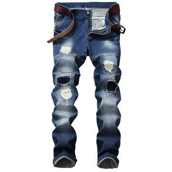 Straight Leg Patch Design Ripped Jeans