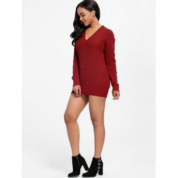 V Neck Drop Shoulder Tunic Sweater Dress - RED ONE SIZE