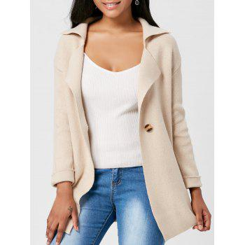One Button Lapel Knitted Cardigan