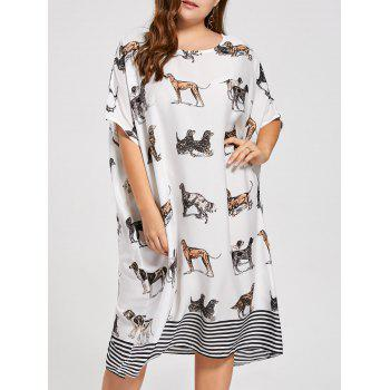 Plus Size Batwing Sleeve Puppy Printed T-shirt Dress