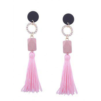 Tassel Pendant Faux Gem Embellished Long Earrings