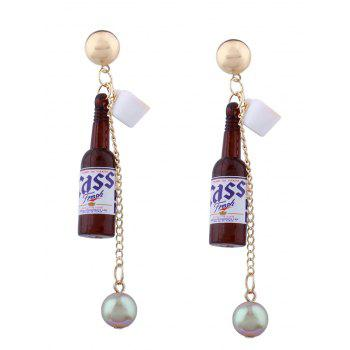 Faux Pearl Wine Bottle Pendant Earrings
