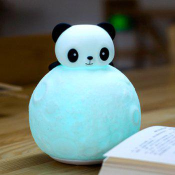 Color Change Remote Control Panda Moon Surface Shape Night Light - WHITE WHITE