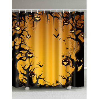 Halloween Trees Pumpkin Print Waterproof Bathroom Shower Curtain
