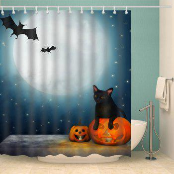 Halloween Moon Night Print Waterproof Bathroom Shower Curtain - COLORMIX W71 INCH * L71 INCH