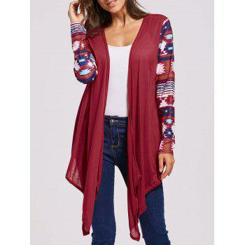 Open Front Collarless Graphic Cardigan