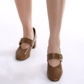 Mary Jane Square Toe Pumps - BROWN BROWN