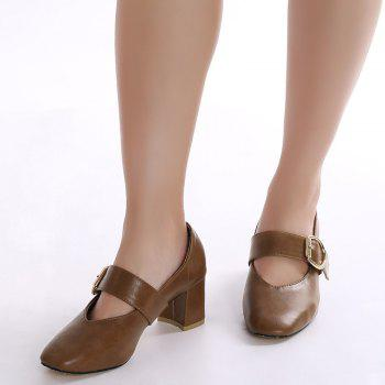 Mary Jane Square Toe Pumps - Brun 38