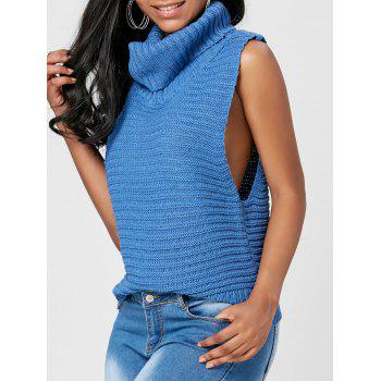 Turtleneck Sleeveless Casual Sweater