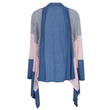 Drape Front Color Block Longline Cardigan