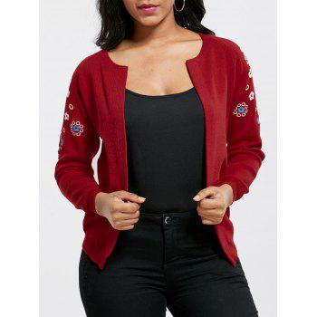 Embroidered Ribbed Cardigan