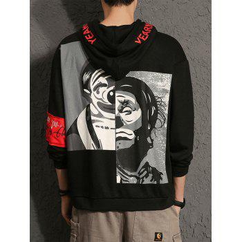 Clown Print Graphic Embroidered Hoodie - BLACK 2XL