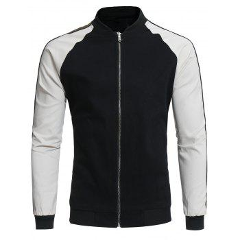 Raglan Sleeve Color Block Panel Baseball Jacket