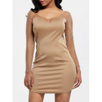 Mesh Insert Long Sleeve Mini Bodycon Dress