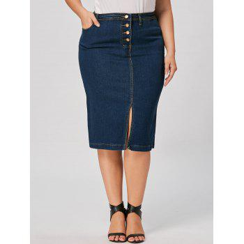 Front Slit Plus Size Button Up Denim Skirt