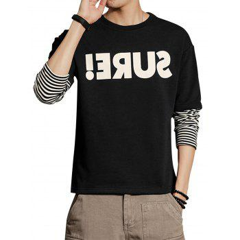 Graphic Print Faux Twinset Stripe Panel Sweatshirt