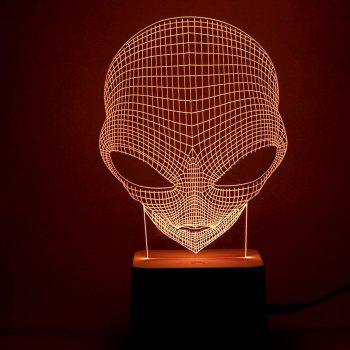 3D Alien Skull Shape Remote Control Color Change Night Light - TRANSPARENT