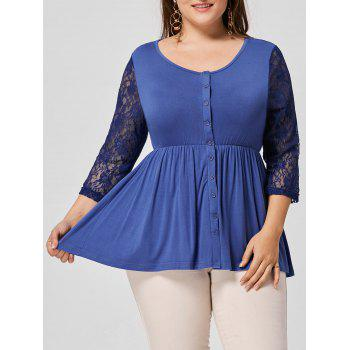 Lace Panel Button Embellished Plus Size T-shirt