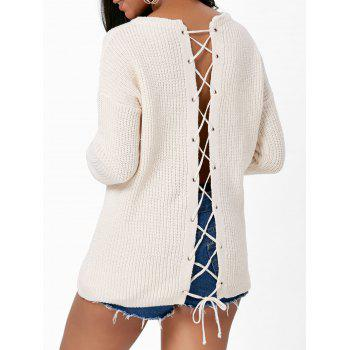 Back Lace Up Drop Shoulder Sweater