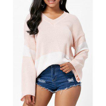V Neck Color Block Boyfriend Sweater