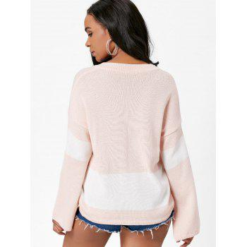 V Neck Color Block Boyfriend Sweater - LIGHT PINK ONE SIZE