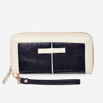 Two Tone Bow Clutch Wallet - BLACK BLACK