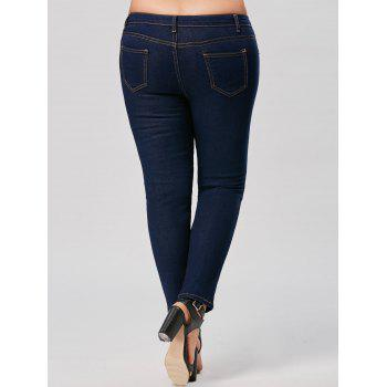 Plus Size Skinny Ripped Ankle Jeans - DEEP BLUE 4XL