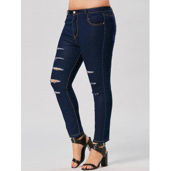 Plus Size Skinny Ripped Ankle Jeans