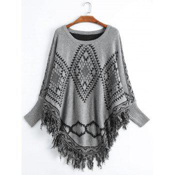 Fringed Geometric Plus Size Poncho Sweater