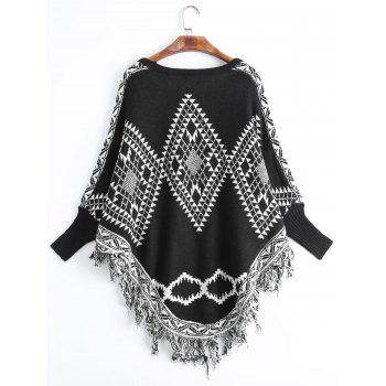 Fringed Geometric Plus Size Poncho Sweater - BLACK ONE SIZE