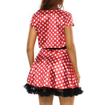 Polka Dot Strapless Cosplay Jacket Dress - RED ONE SIZE