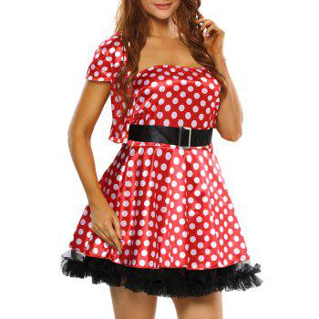 Polka Dot Strapless Cosplay Jacket Dress