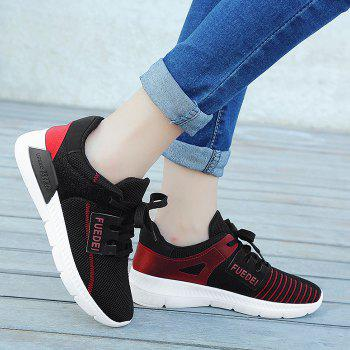 Mesh Breathable Colour Block Athletic Shoes - RED/BLACK 38