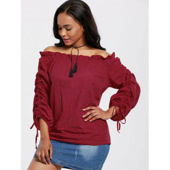 Puff Sleeves Off The Shoulder Blouse - WINE RED ONE SIZE