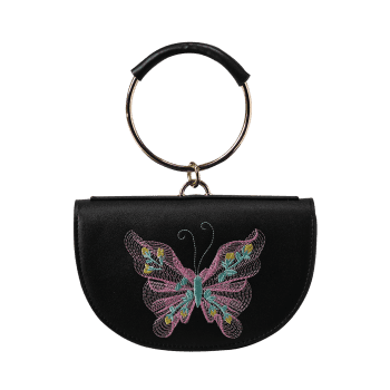 Metal Ring Faux Leather Embroidery Tote Bag - BLACK/PINK