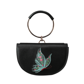 Metal Ring Faux Leather Embroidery Tote Bag - BLACK/GREEN