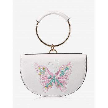 Metal Ring Faux Leather Embroidery Tote Bag
